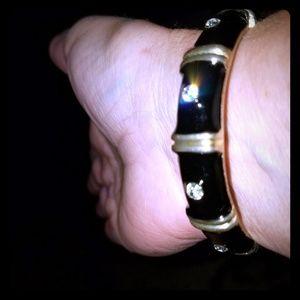 Black and gold bracelet w/crystals
